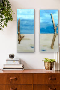 """Perfect Peace"" Set Of 2 Beach Scenes with Driftwood Original Paintings 10 x 24 by Kerrie Griffin-Rogers"