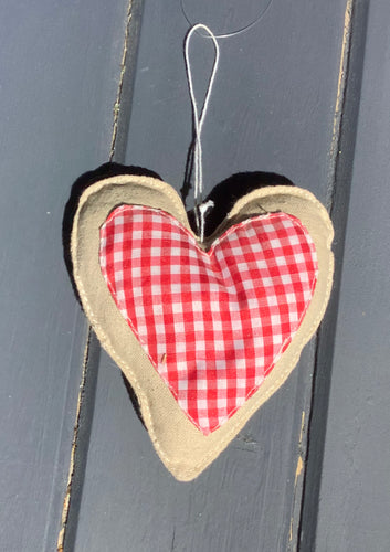 red and white checked fabric heart