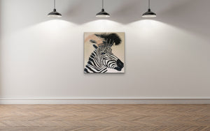 Zebra Diva In lockdown By artist Kerrie Griffin The Interior Co  61cm x 61cm