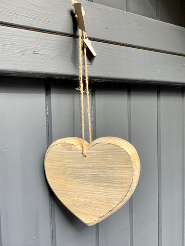 Hand Painted Wooden heart in Cream With Natural String Hanging Cord