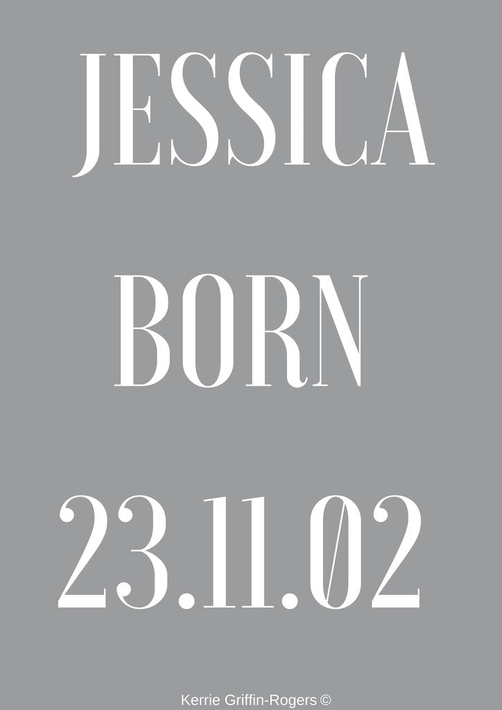Framed Print - Birth framed print personalised including name and D.O.B.