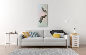 Original Feather canvas Painting on a pale blue background by Kerrie Griffin-Rogers 10 x 24 inches called Release