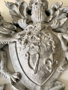 Heraldic Wall Plaque Motif Royal Crest in Distressed Paint Effect By the Interior Co