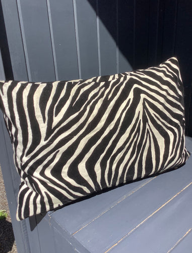 Large Zebra Cushion Black and White