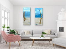 "Load image into Gallery viewer, ""Perfect Peace"" Set Of 2 Beach Scenes with Driftwood Original Paintings 10 x 24 by Kerrie Griffin-Rogers"