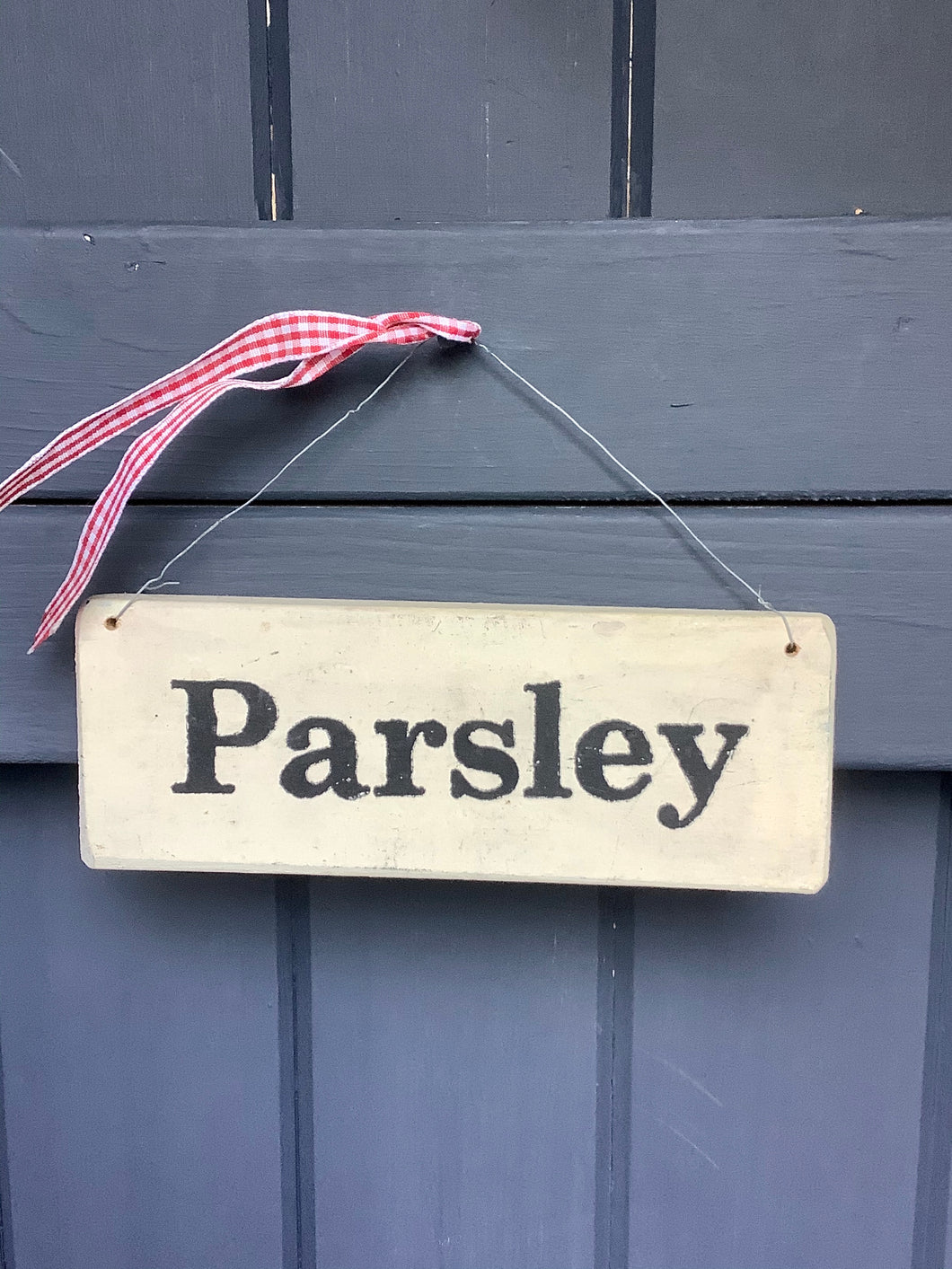 Parsley Wooden Sign Cream with Wire Hanging and Red Ribbon