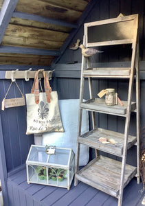 Distressed Lime Washed Wooden 4 Shelf Unit