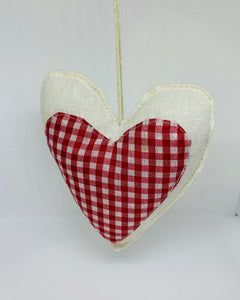 Hand Made Fabric Hanging Heart - Red and White Checked - White Linen