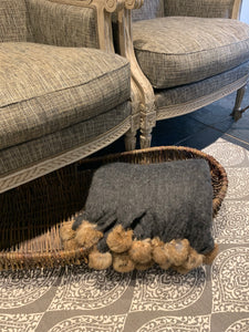 Charcoal Throw with Rabbit Pompoms