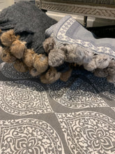 Load image into Gallery viewer, Grey Throw Rabbit Pompom edge by the interior co