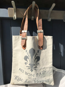 French Bread Bag Heavy Canvas with Leather Handles