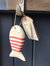 Load image into Gallery viewer, Red Stripy Wooden Hanging Fish With Wooden Heart Tag East Of India