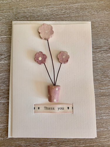 Thankyou Card With a Wooden Polkadot pot of flowers East Of India