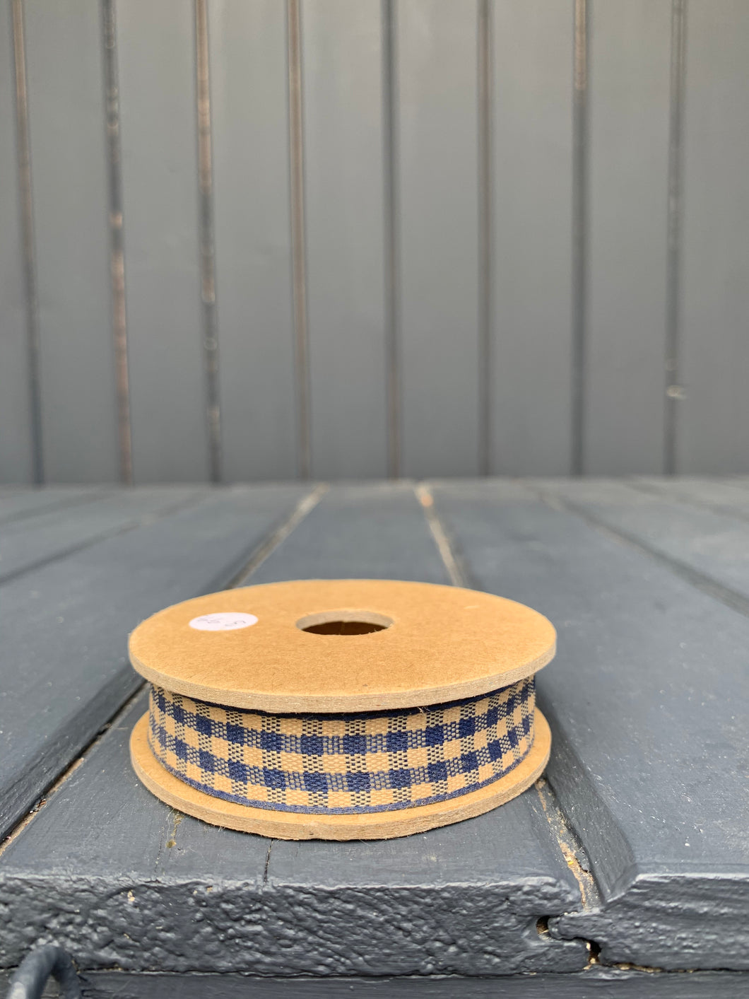 East Of India - Blue Gingham Ribbon Spool