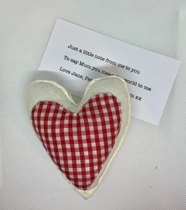 send a heart to a loved one from The Interior CoHand Made Fabric Hanging Heart - Red and White Checked - Linen