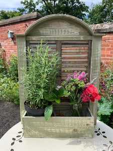 Distressed Green Louvre Shutter Doors Planter