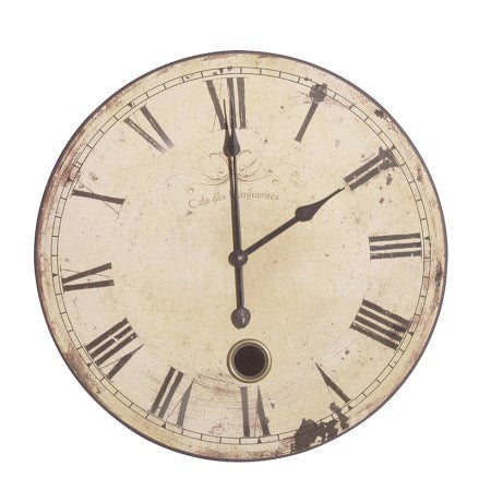 Round French Wall Clock With Roman Numerals In Cream