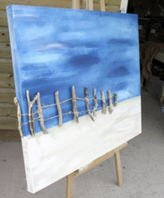 Extra Large Beach Scene Original Canvas with Driftwood 36 x 46 inches by Kerrie Griffin-Rogers