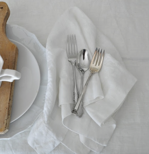 TABLE CLOTH WHITE HERRINGBONE EDGE LARGE - WHITE