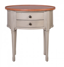Oeil-de-Boeuf Oval Side Bedside Table Or Occasional Table - in Cream - India Jane
