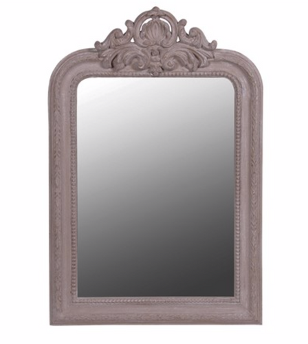 Small Antique Taupe Carved Top Mirror
