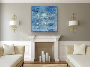 A Large Textured Abstract Canvas Original Painting by Kerrie Griffin Called Waves available from The Interior Co