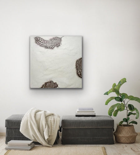 Textured Original Artwork - Floating Mischief Original Painting 81cm square by Kerrie Griffin Available at The Interior Co