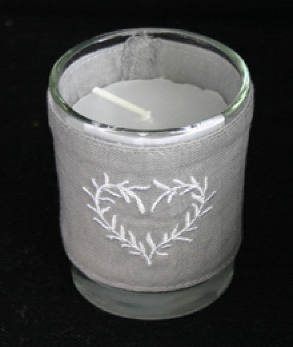 Candle with linen cover
