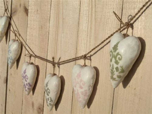 Canvas heart garland