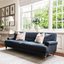 Load image into Gallery viewer, CAVERSHAM THREE SEATER SOFA WITH BRASS WHEELS