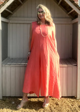 Load image into Gallery viewer, Linen Jumpsuit - in Orange, Black or White - Made in Italy by Feathers Of Italy One Size