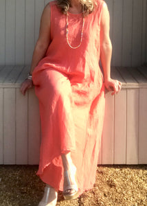 Linen Jumpsuit - in Orange, Black or White - Made in Italy by Feathers Of Italy One Size