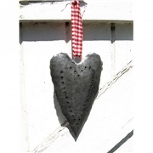 Galvanized heart on red ribbon small