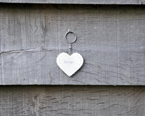 Garage wooden heart keyring