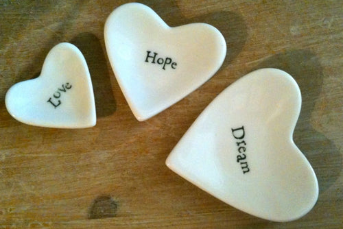 Hearts In a Box Porcelain Heart Dishes - Love, Hope, Dreamy east of india The Interior Co