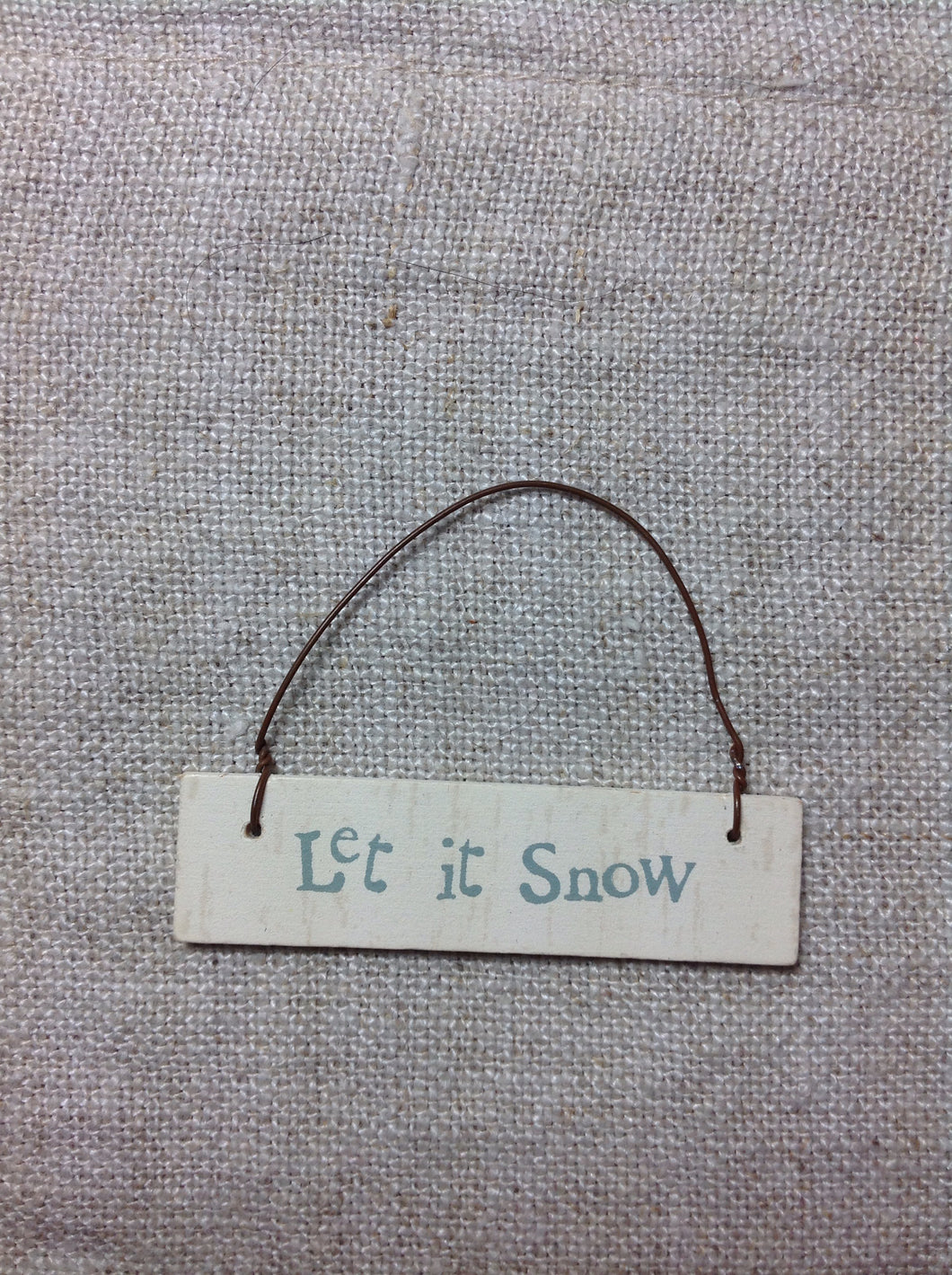 Mini Cream hanging sign Let it snow or Merry Christmas East of india