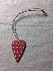 Red spotty heart mini tree decoration red and cream east of india.