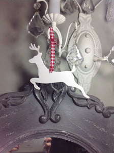 Leaping cream metal reindeer with gingham ribbon loop tree decoration