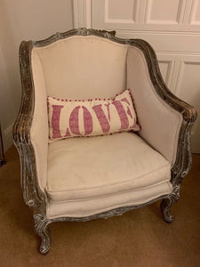 French style Arm Chair Heavily Carved Wood Frame