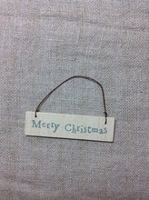 Load image into Gallery viewer, Mini Cream hanging sign Let it snow or Merry Christmas East of india