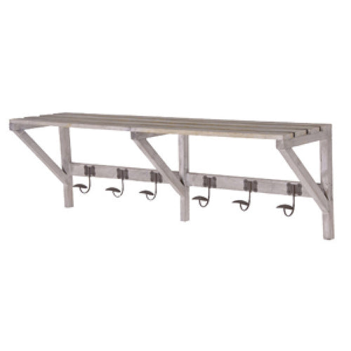 limed wooden shelf coat rack
