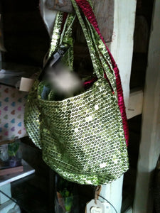 Sequin bags green