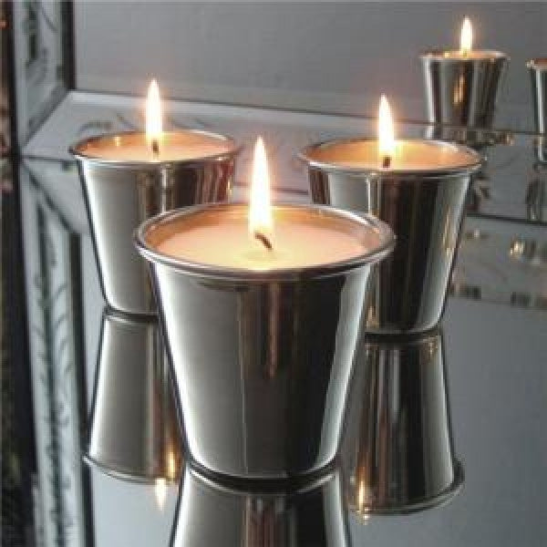 Set of three candles in nickel votives (boxed) by India Jane