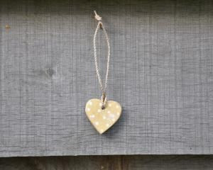Copy of small cream wooden heart on string