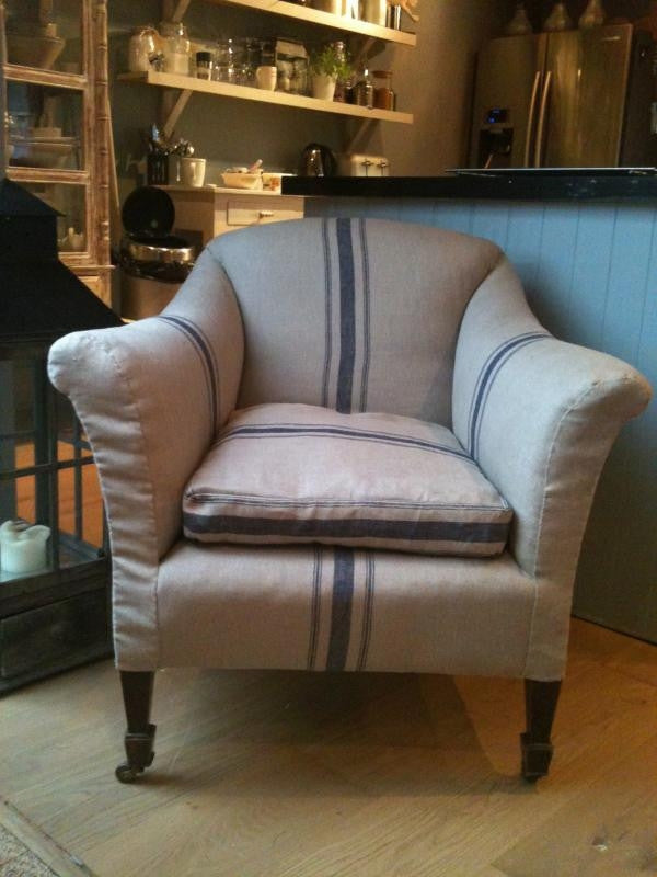 Vintage 1930 lounge chair - Uppholstered in Biggie Best Antique style french blue stripped Linen