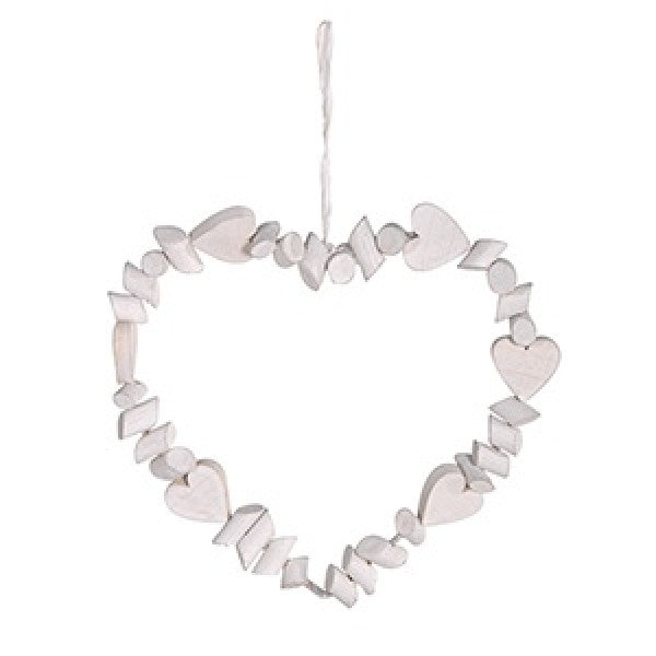 White Wooden multi-heart wreath - Hanging
