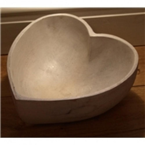 White wash heart bowl (L)