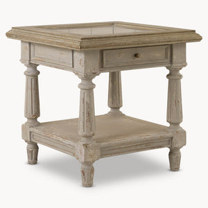 COLONIAL GREY OAK AND STONE TOP SIDE TABLE BEST SELLER