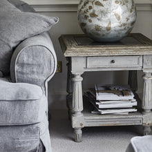 Load image into Gallery viewer, COLONIAL GREY OAK AND STONE TOP SIDE TABLE BEST SELLER