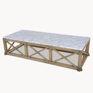 Wood Craft Oak Cross Bar And Marble Coffee Table
